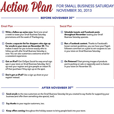 Small business saturday 2013 email marketing tips for Small business participation plan template